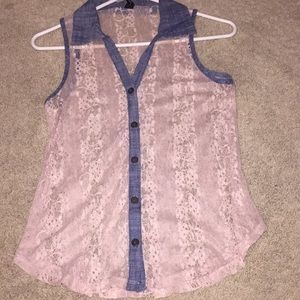 Button down short sleeve lace top